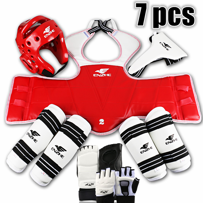 2017New Taekwondo protectors WTF 7pcs Tae kwon do groin guard Chest forearm shin protector supporter Sparing gear Karate Helmet 2017new full set taekwondo protectors karate shin guard arm protector helmet body chest protector groin crotch protective guards