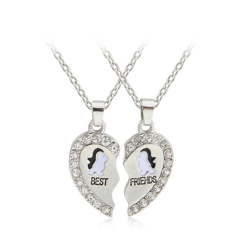 Crystal Heart Charm Pendant Necklace Chain Women Men Xmas Jewelry Best Friends