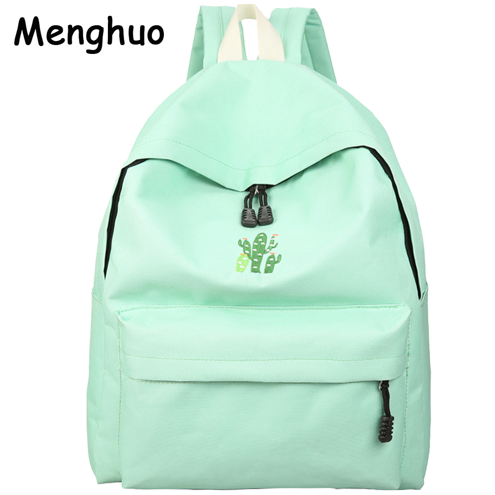 Menghuo 2017 Cactus Embroidery Simple Canvas Backpack Students School Bag Women Girl Rucksack Mochila Escolar Women Backpack pinsen fashion women shoes summer breathable lace up casual shoes big size 35 42 light comfort light weight air mesh women flats