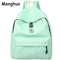 Menghuo 2017 Cactus Embroidery Simple Canvas Backpack Students School Bag Women Girl Rucksack Mochila Escolar Women Backpack
