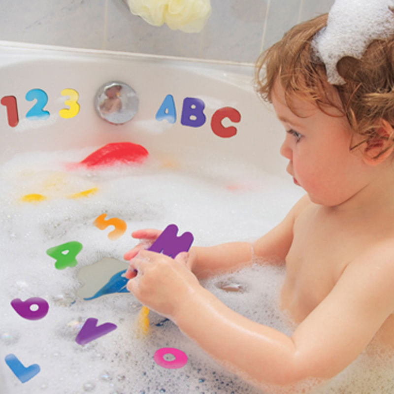 Baby Foam Stickers 26 Letters + 10 Numbers Baby Bath Tub Water Stickers Kids Children Floating Bath Shower Toys image