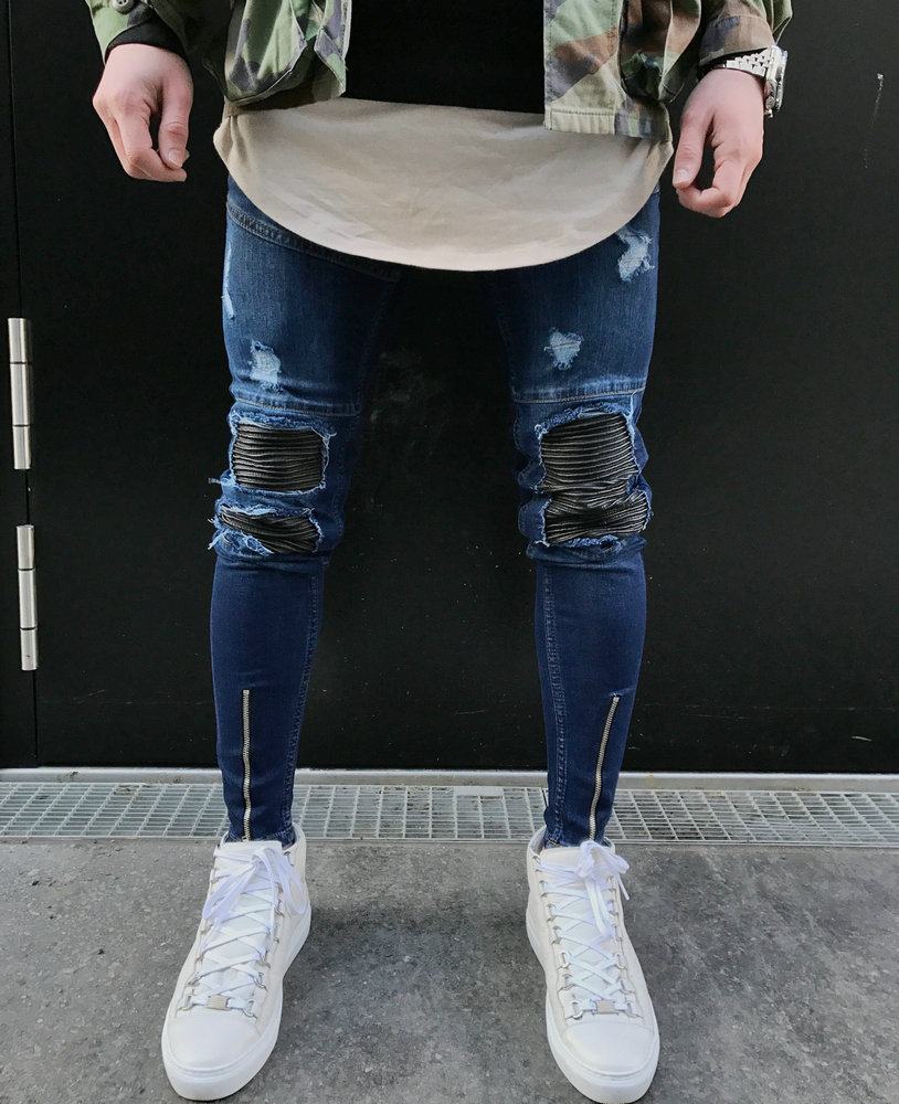 Fashion Men Racer Slim Hole Zipper Denim Jeans 2018 New Summer Skinny Frayed Pants Distr ...