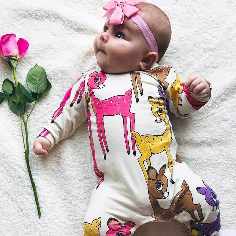 2020 Baby Rompers Christmas cute Deer Print Cotton Newborn Boys Romper Girls Clothes Infant Baby Clothing Long Sleeve Jumpsuit