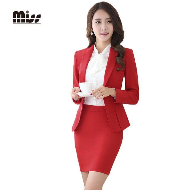 MISS 2016 Spring Women Formal Skirt Suits Work Ladies Office Uniform Slim  Business Blazer Suit With