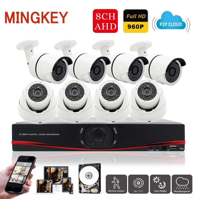 Mingkey 960P 8CH AHD DVR Kit 8ch 1.3MP Security Camera System HD Home Surveillance Camera Kit IR Outdoor Indoor Camera with HDD  cnhidee home security camera system nightvision ahd 8ch 720p ir 1200tvl dvr hd kit video surveillance system 8ch outdoor kit set