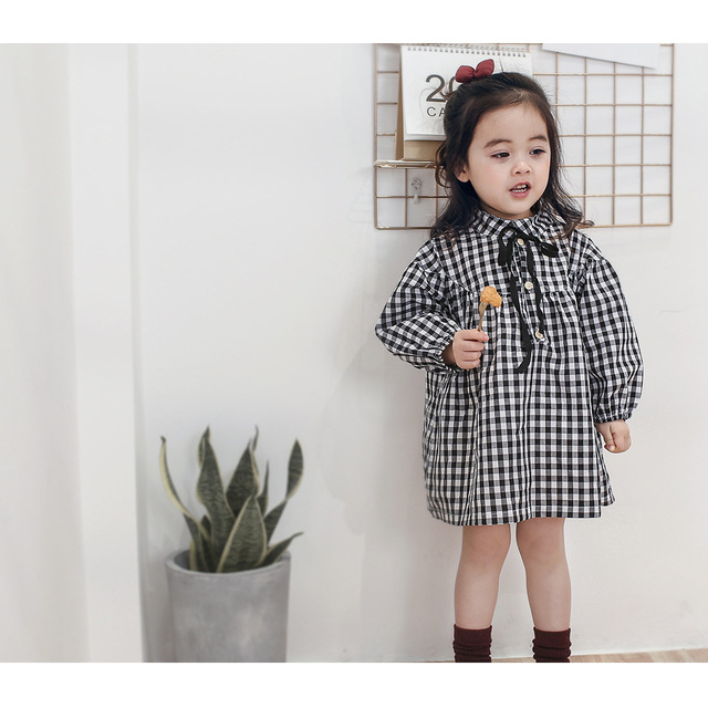 057e6fccb Baby Child Cotton Doll Dress Dress Institute Wind Tong Lattice Girls ...