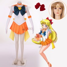 Athemis Anime Sailor Moon Minako Aino/Sailor Venus SuperS Cosplay Costume Custom Made Any Size Dress High Quality Outfit цена