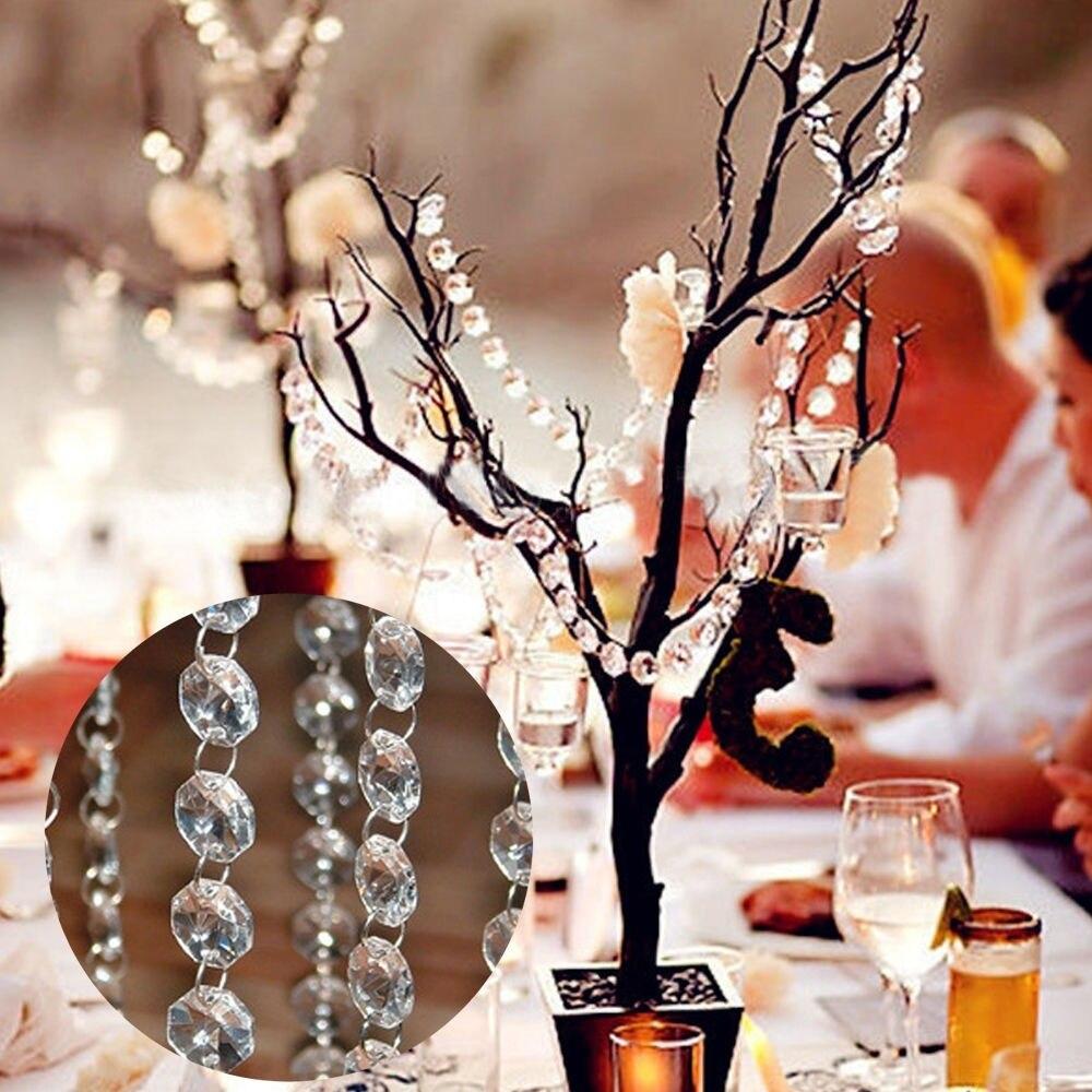 Ручная работа 6,6 фута прозрачная Хрустальная акриловая люстра часть Призма Восьмиугольные бусины цепь домашний Декор 200 см Suncatcher XMS