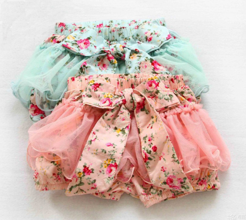 Summer Korean Baby Girls Toddlers Kids Floral Big Butterfly Bow knot Lace Gauze Bubble Skirt Kids Tutu Shorts Elastic Short Pant