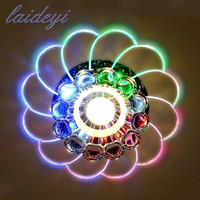 LAIDEYI Modern Crystal Ceiling Light Lampshade AC100 240V 5W Colorful Surface Mounted LED Ceiling Lights For