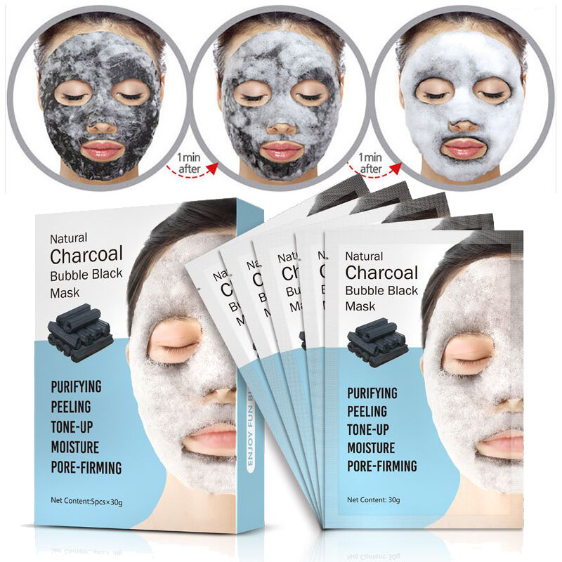 Natural Detox Oxygen Charcoal Bubble Black Sheet Mask Oil Control Face Mask Blackhead Removal Facial Mask Korean Skin Care