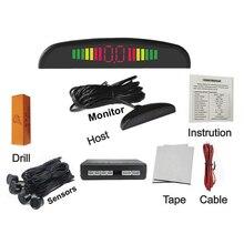 Buzzer asistencia de aparcamiento con 4 sensores y pantalla LED Radar de Reserva Reverso Del Sistema Indicador De Alerta 7 colores para elegir