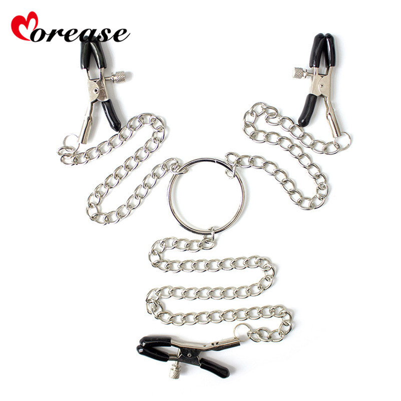 1pc Metal Long Chain Nipple Clamps Chains Adult Game Breast Clips Milk Folder Vagina Clitoris Clip for Couples Flirting Sex Toys