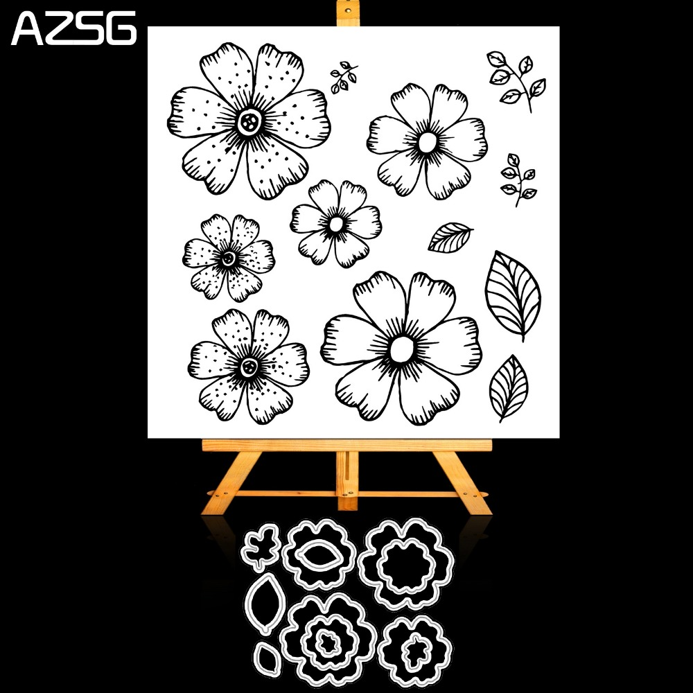 AZSG Flowers Leaves Petals Metal Cutting Dies Clear Stamp