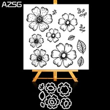 Flowers and Leaves Petals Metal Cutting Dies Clear Stamp Set for DIY Scrapbooking Photo Album Decoretive Embossing Stencial