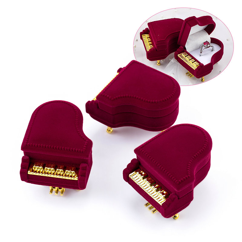 1 Piece Unique Piano Velvet Jewelry Box Wedding Ring Box Gift Box Holder Jewellry Wrap For Earrings Necklace Bracelet Display