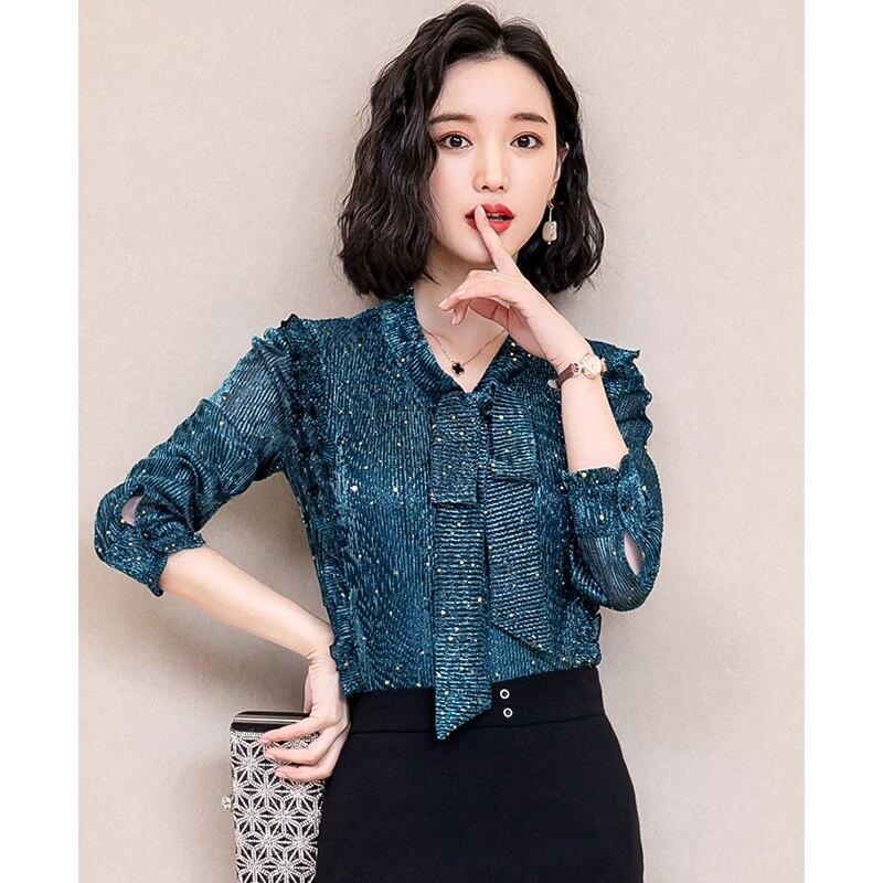 Korea Style Women Blouse Shirts 2018 Elegant Ruffles Women Tops Plus Size warm Solid Casual Loose Shirt blusas feminina NW1055 3