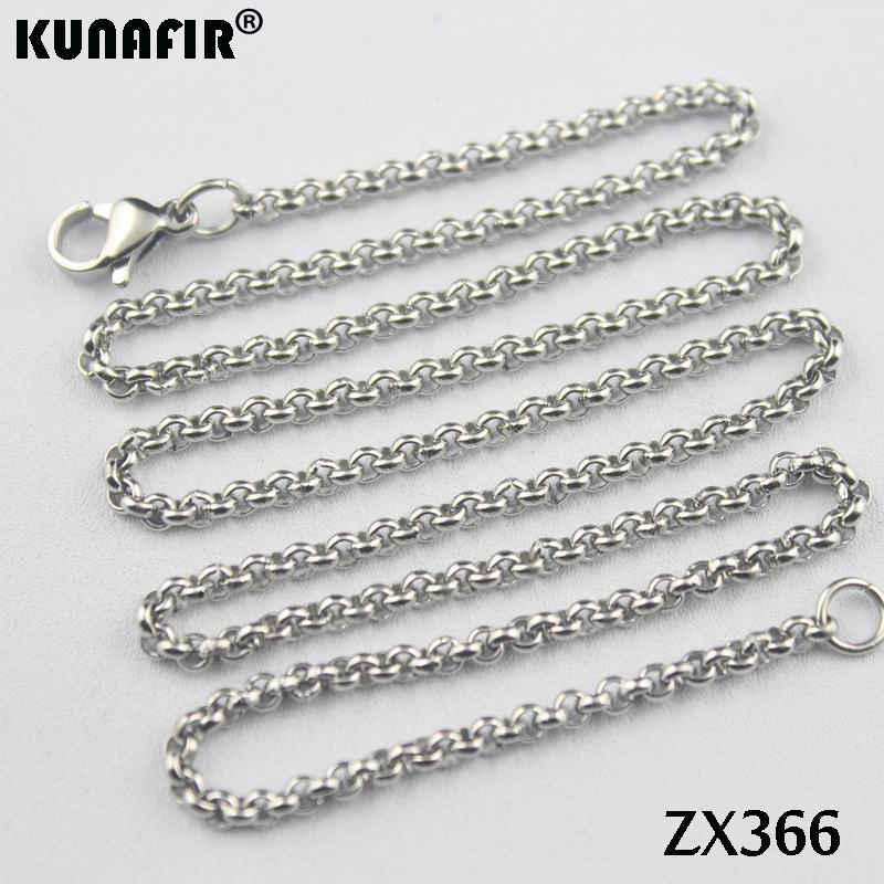 200pcs 14 38 stainless steel necklace 2 5mm round rolo link chains women fashion jewelry parts