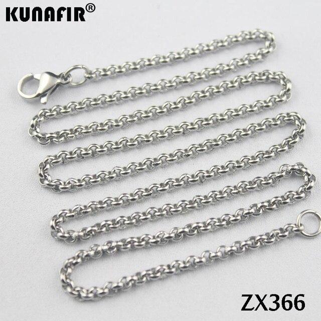 """200 pz 14 """" 38"""" collana in acciaio inox 2.5mm rotonda rolo link catene parti di gioielli delle donne di modo ZX366"""