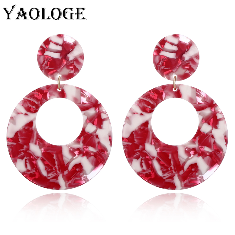 YAOLOGE Classic Round Acrylic Earrings Creative Hollow Button Personality Jewelry Vintage Statement For Female New Products