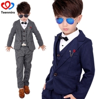 Kids Boys Gentleman Formal Costume Child Ceremonial Birthday party dresses clothes Suit Toddler Plush 3pcs Wedding Tuxedos Sets