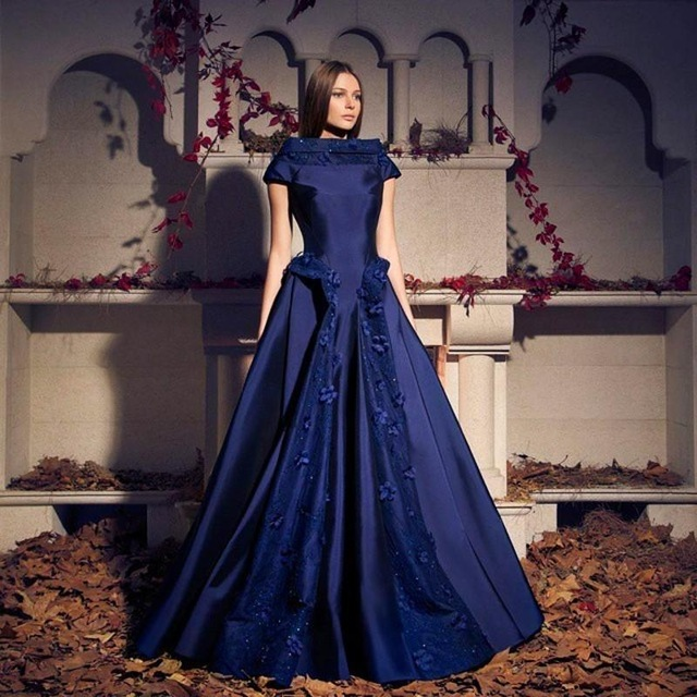 Blue evening dresses with short sleeves