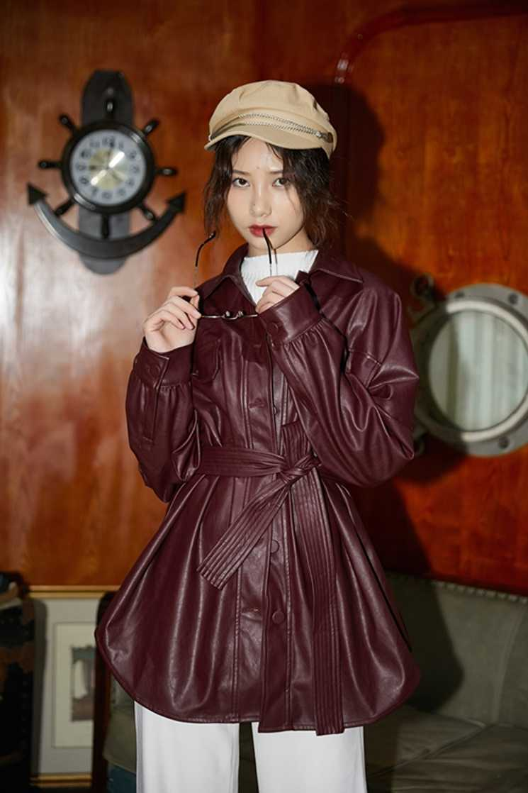 Lanmrem 2020 Turn-Down Kerah Merah Anggur Lengan Penuh Single Breasted PU Kulit Pinggang Tinggi Jaket Kulit Wanita WH29203S