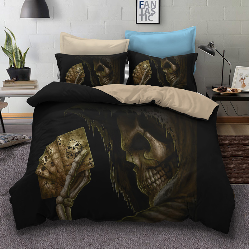 Fanaijia sugar Skull Bedding Sets queen size Gambler skull Duvet Cover set with pillow case Bed bedlineFanaijia sugar Skull Bedding Sets queen size Gambler skull Duvet Cover set with pillow case Bed bedline