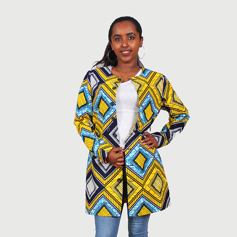 FANS FACE 2017 African Print Bomber Jacket Women Fall Winter Long Sleeve Zip Up Woman Slim Casual Vintage Coats Dashiki Jacket sleeve patched shoulder zip bomber jacket