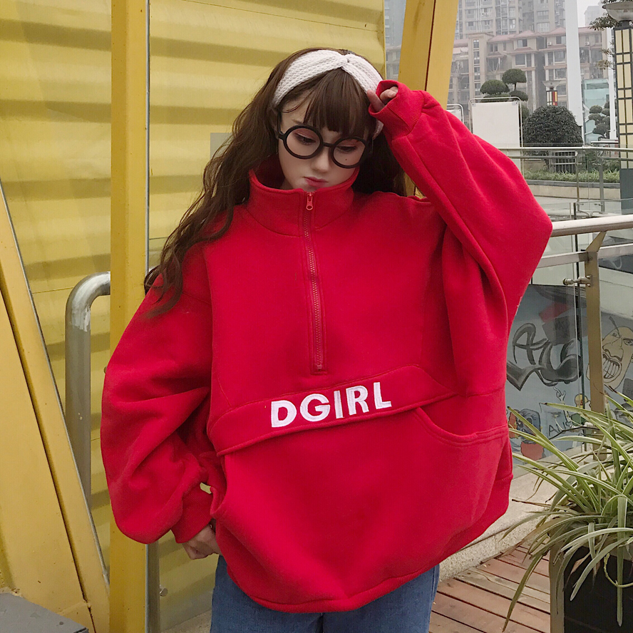 Hot Sale Harajuku Korean Womens Clothing Spring Autumn Letter Turn-down Collar Long Sleeve Ulzzang Woman Hoodies Loose Sweatshirts New Matching In Colour Women's Clothing