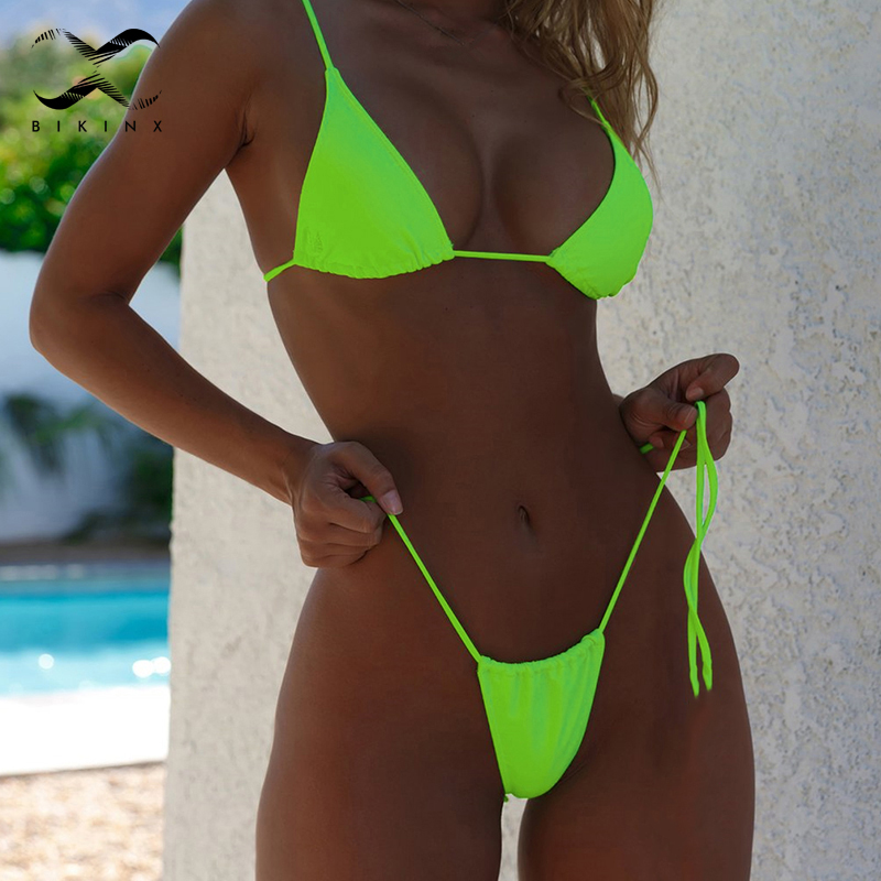 Bikinx Neon green bikini thong biquini High cut swimwear women swim Sexy push up swimsuit female bathing suit Micro bikini 2019(China)