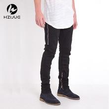 black Jeans Men With Holes Super Skinny Famous Designer Brand Slim Fit Destroyed Jeans Pencil pants Slim zipper Jeans