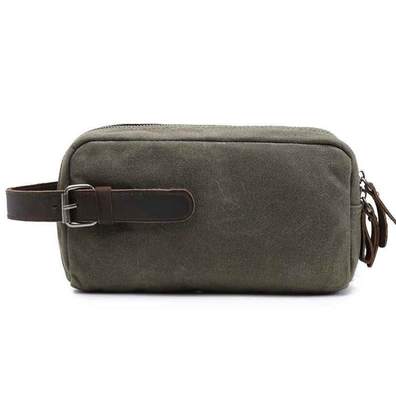 где купить Classical Army Green Men Canvas Clutch Bags With Crazy Horse Leather New Casual Messenger Bags For Male & Female Clutch Bag G046 дешево