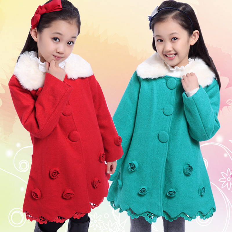 ФОТО Girls Autumn Winter Clothes Korean New Wool Coat Children's Kids Clothing Red Green