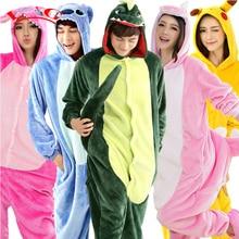 L G Panda Stitch Unicorn Unisex Flannel Hoodie Pajamas Costume Cosplay Animal Onesies Sleepwear For Adults Women Men Child