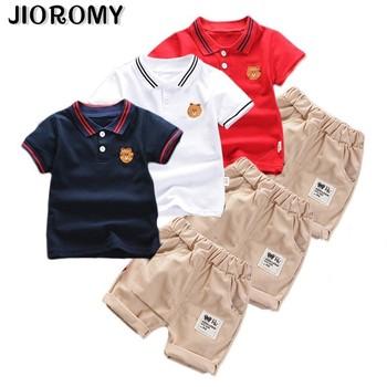 2019 chłopców odzież dla niemowląt moda letnie ubrania chłopięce zestaw bawełniana koszulka + spodenki 2 sztuk stroje ubrania dla dzieci dla 1-5Y tanie i dobre opinie AiLe Rabbit Skręcić w dół kołnierz Zestawy Swetry 309187 COTTON Poliester Chłopcy Krótki REGULAR Pasuje prawda na wymiar weź swój normalny rozmiar