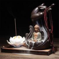 Buddhism Incense Burner Bergamot Lotus Retro Line Glaze Buddha Incense Censer Ceramic Aromatherapy Smoke Backflow