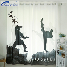 Senisaihon 3D Blackout Curtains Chinese Martial Arts Figure Pattern Thickened Fabric Children Bedroom Curtains for Living Room