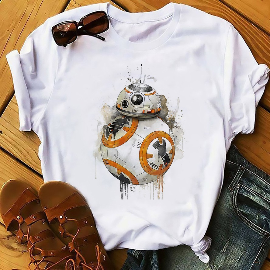 BB8 Robot Funny T Shirt Men Summer New White Casual Homme Cool Cute Droid BB-8 BB 8 Tshirt