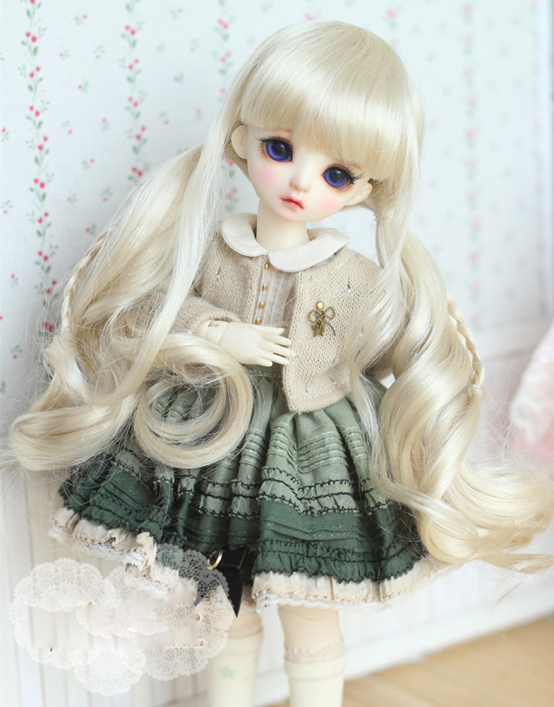 Free Shipping 1/6 6-7 BJD Wig Super Doll Wig Long lOVELY With Two Braid Mohair For BJD Doll Hair ld7530pl ld7530 sot23 6