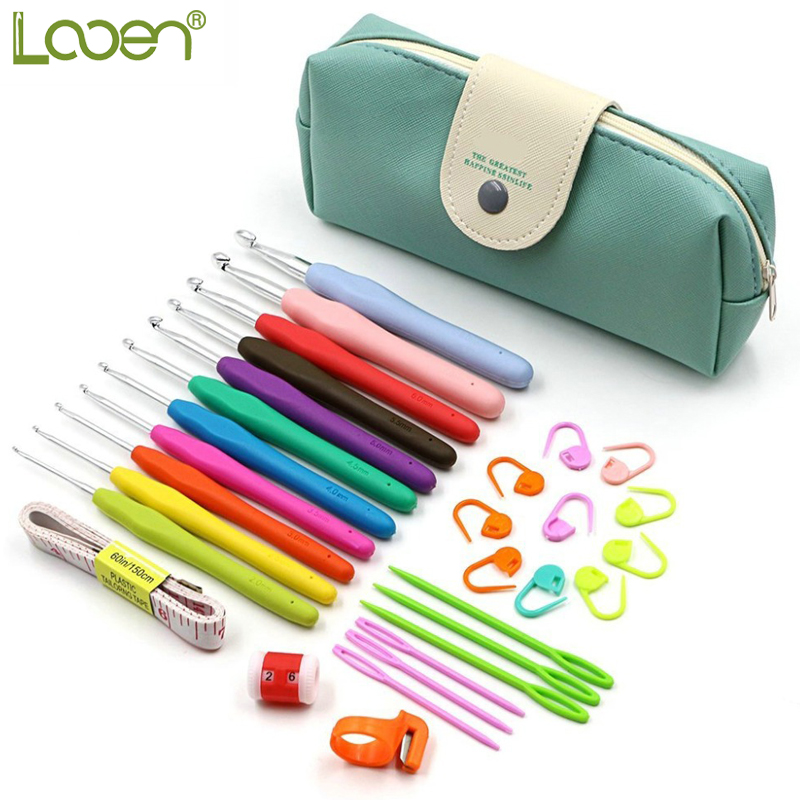 Looen Brand 30 pcs Crochet Hooks Yarn Knitting Needles Sewing Tools Set 11 Crochet Hooks 2~ 8 mm with Comfort Soft Rubber Grip