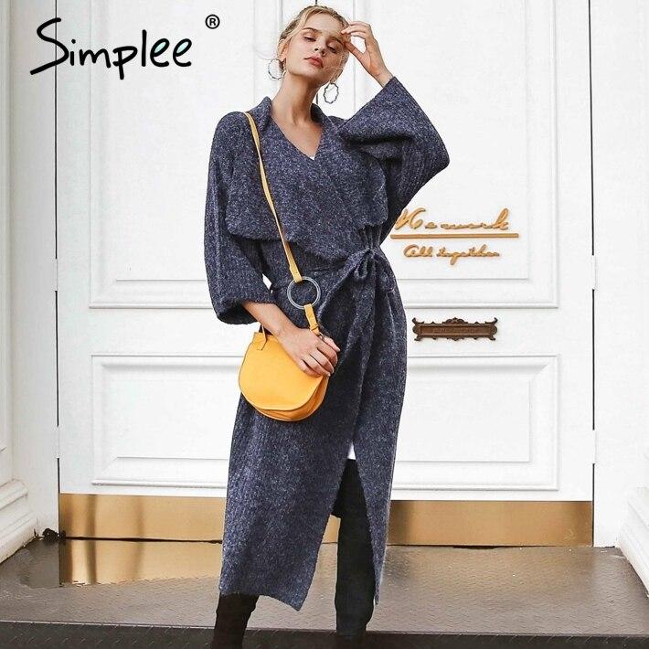 Simplee Sash elastic ladies cardigans winter sweater women jumpers Elegant warm cardigan 2018 Autumn women fashion soft sweater