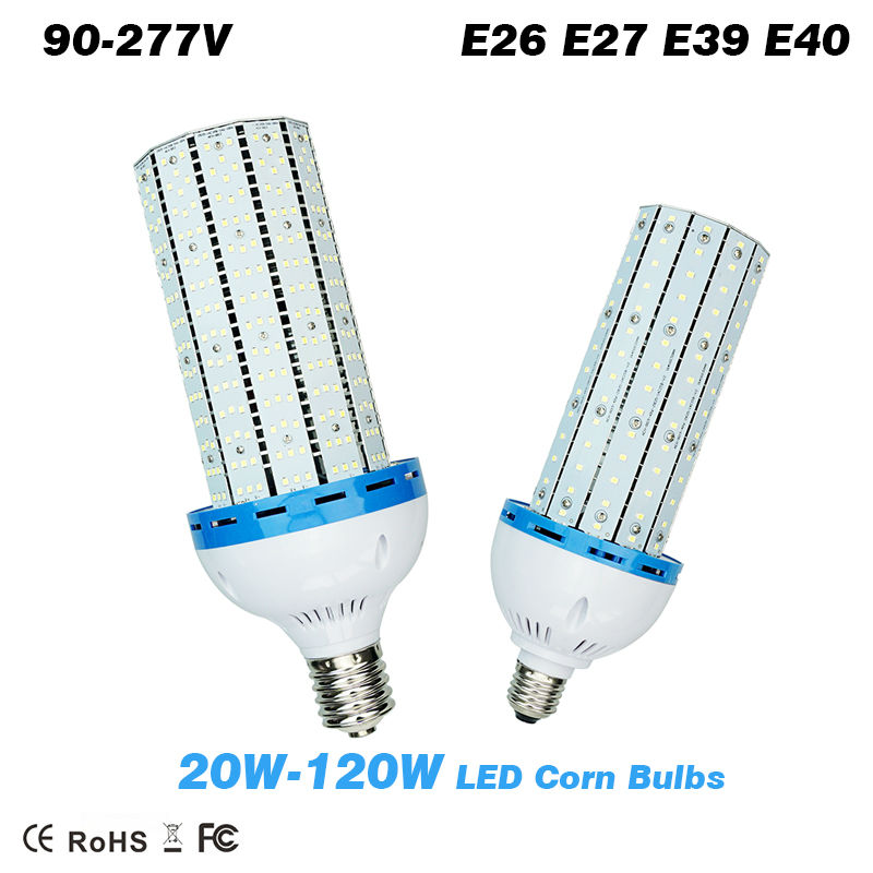 ФОТО 20W 30W 40W 60W 80 100W 120W SMD2835 LED Corn Bulb with input Cooling Fan High Bright E26 E27 E39 E40  lamp Base