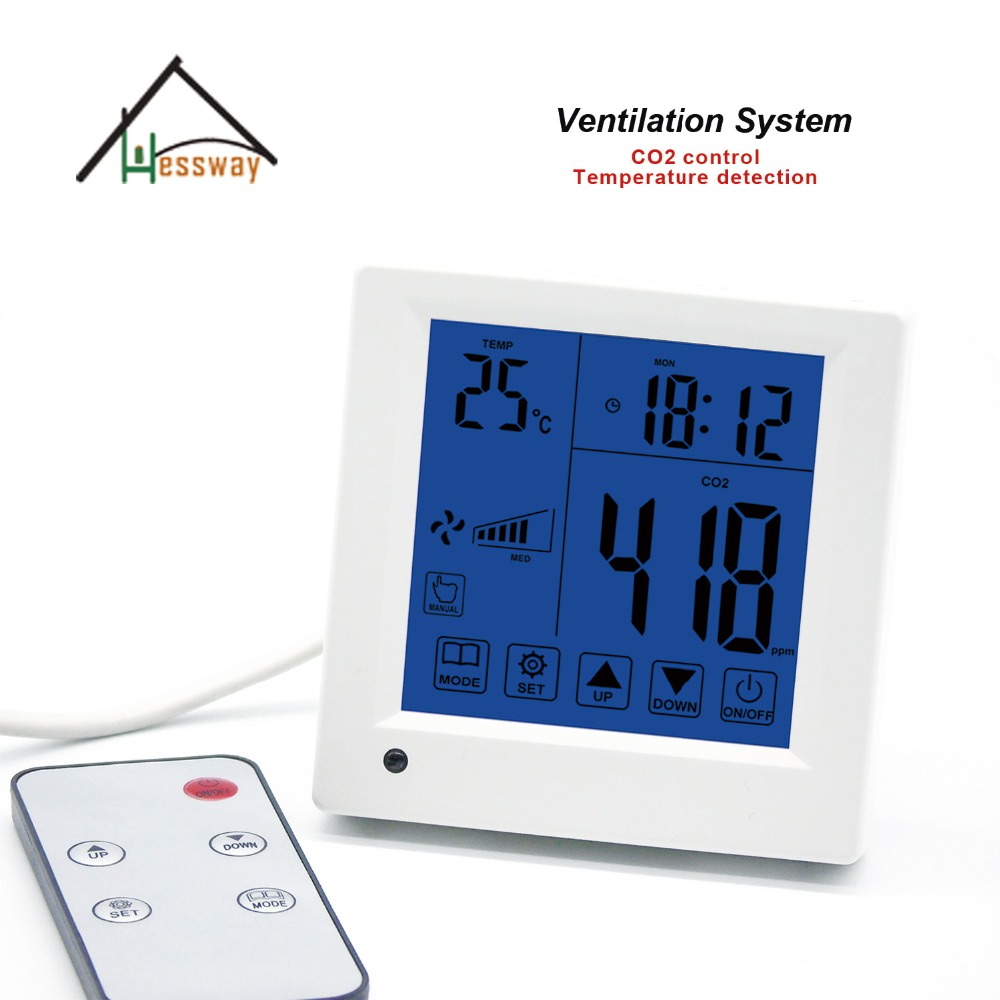 Remote control Indoor air quality co2 monitor detector controller ventilator speed output
