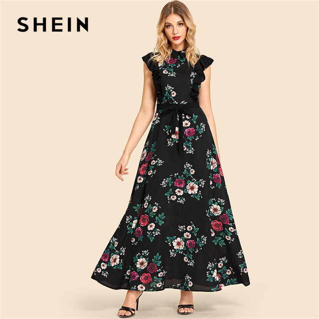 69c6afc4c6c1 SHEIN Multicolor Vacation Ruffle Trim Self Belted Flower Print Collar Dress  Beach Fit and Flare High Waist Women Summer Dresses