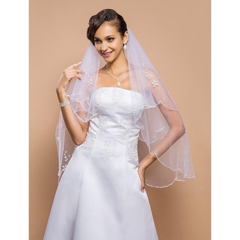 LAN TING BRIDE Duas Camadas Borda Enfeitada Vus de Noiva Vu Ponta dos Dedos Com Prolas Lantejoulas 27,56 cm (70cm) Tule Lin