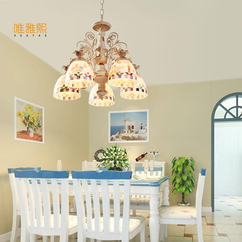 Gold Kronleuchter antike Lampe Wandleuchte Tiffany Light Conch Glas - Innenbeleuchtung - Foto 2