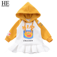 Newborn Baby Girl Clothes Casual Baby Dress Girl Winter Cartoon Long Sleeve Thick Print Letter Hooded