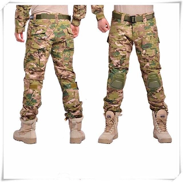 2017 Камуфляж Тактический Военный Поход Брюки Мужчины США Армия Грузов Брюк Боевой Одежды с наколенники