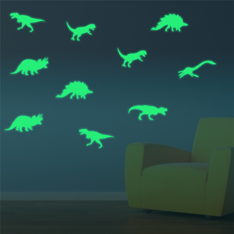 9Pcs Glow In The Dark Dinosaurs Toys Stickers Ceiling Decal Baby Kid Room 2